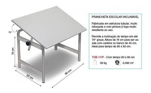 mesa prancheta desenho trident tubular tampo 60x80 tub 17