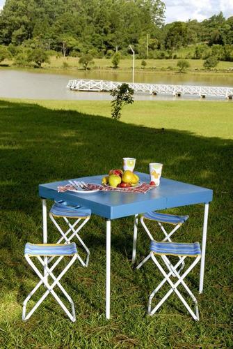 mesa prática dobrável camping tipo maleta c/ 4 banquetas mor