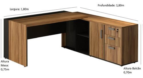 mesa presidente c/ armário pedestal gebbwork - nogal sevilha