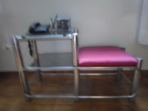 mesa p/telefone c/banco estofado- prateleiras c/vidro temper