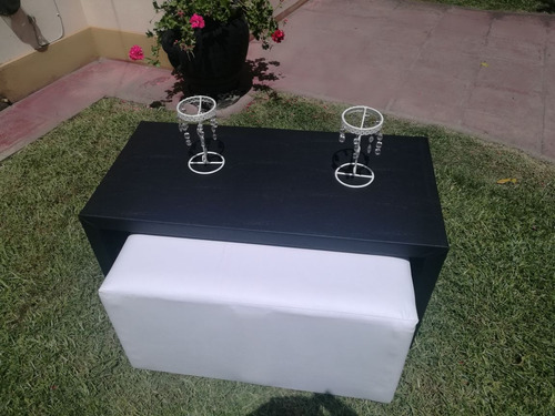 mesa puente con 2 puff cubo tapizada ecocuero vs colores