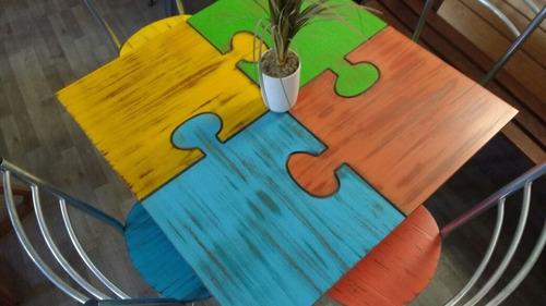 mesa puzzel con 4 sillas restaurantes  cafeterias