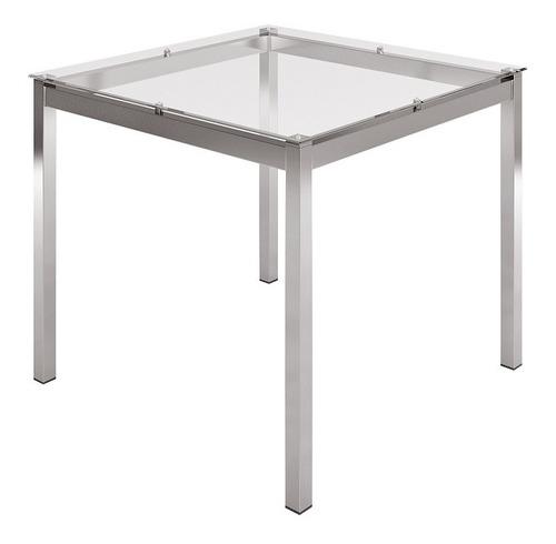 mesa quadrada com tampo de vidro mvr-1951 incolor/ cromada