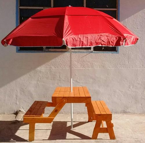 mesa que se hace banca con sombrilla jumbo