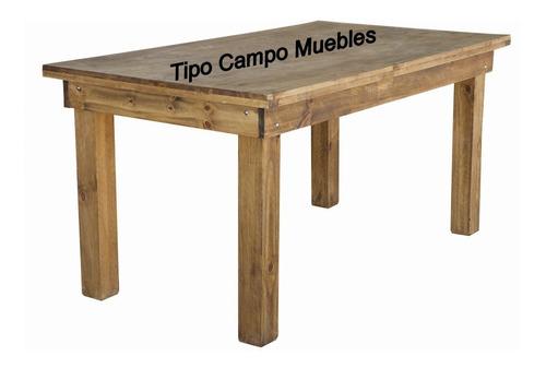 mesa quincho 1.60 x 0.80 m   estilo campo, maciza, pino