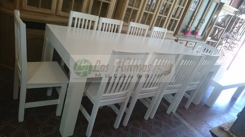 mesa quincho 2.40x1+10 sillas hindu alta patinado los alamos