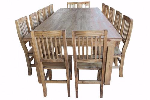 mesa quincho 3 m + 14 sillas mesa estilo campo maciza mesa