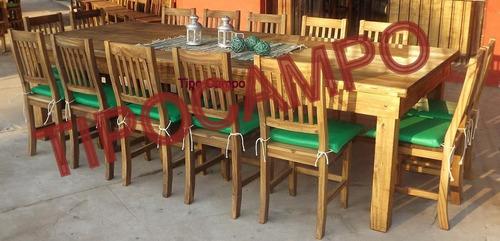 mesa quincho 3.00 m x 1.27 m  maciza estilo campo