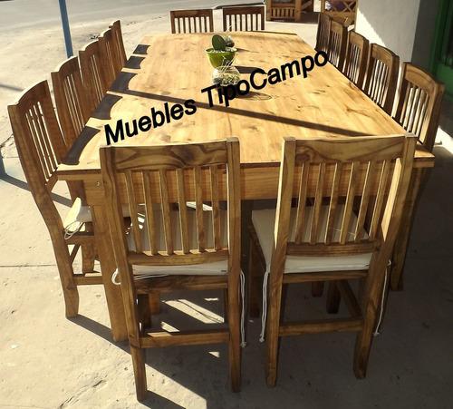 mesa quincho 3.00 metros,  maciza estilo campo