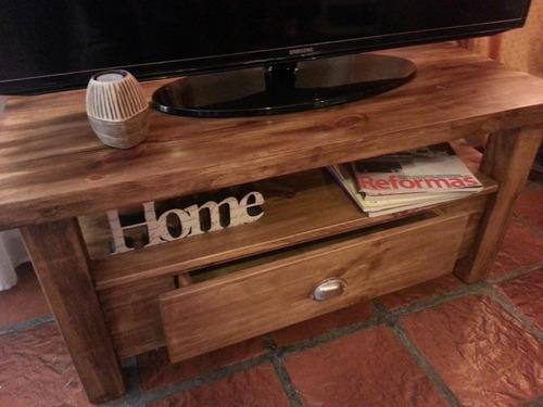 mesa rack tv lcd plasma asia  pino rústica estilo campo