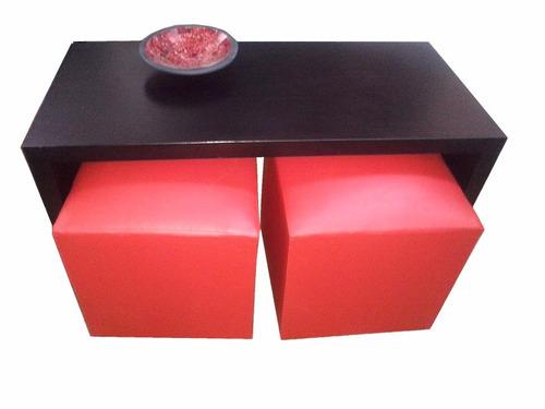 mesa ratona 1 x 50 con 2 puff, minimalista, clor a eleccion.