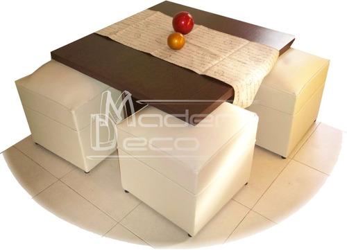 mesa ratona + 4 puff excelente calidad - m a d e r d e c o