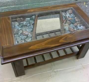 Mesa ratona artesanal madera y vidrio muy moderna for Mesa de madera con vidrio