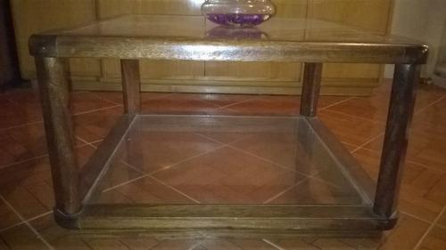 mesa ratona cedro y vidrio