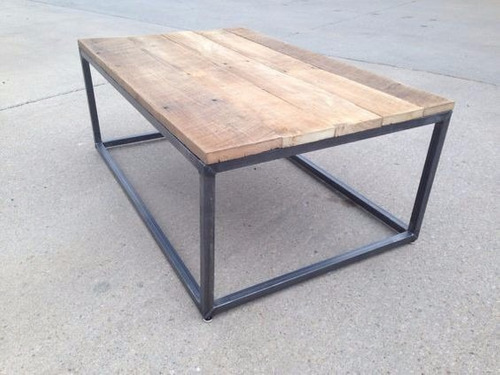 mesa ratona coffe hierro y madera. 100x50 industrial