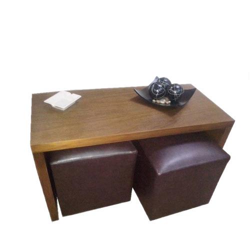 mesa ratona con 2 puff minimalista gh