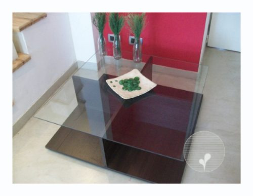 mesa ratona con vidrio y madera 85cm x 85cm