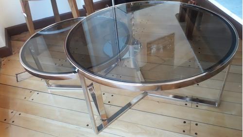 mesa ratona cromada ø 60 cm viva con tapa cristal o espejo