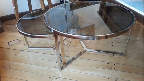 mesa ratona cromada ø 70 cm viva con tapa cristal o espejo