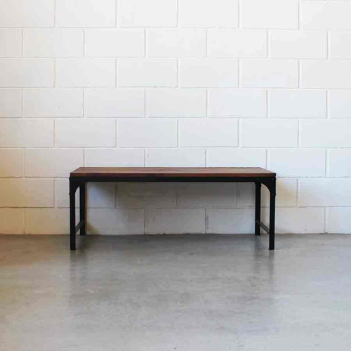 mesa ratona de hierro y madera 1.20 m x 60 cm