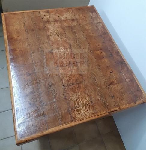 mesa ratona de madera pinotea con diseño - mader shop