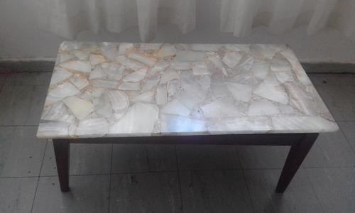mesa ratona de marmol y madera