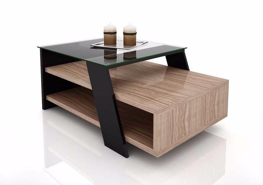 mesa ratona diseo moderno living madera y vidrio diamante