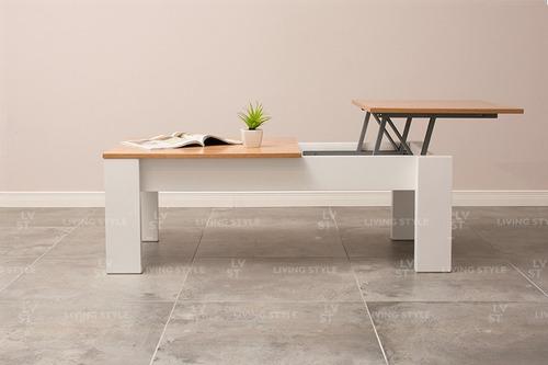 mesa ratona elevable doble laqueada rebatible - living style