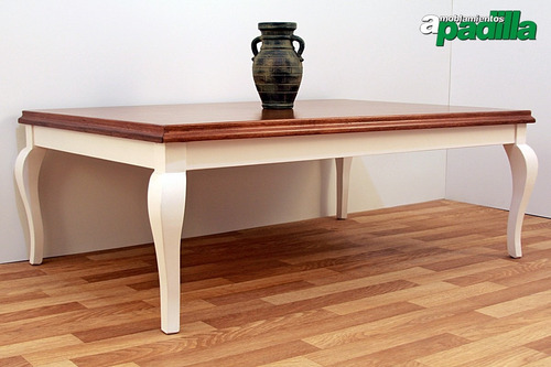 mesa ratona francesa en madera de cedro base blanca