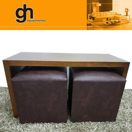 mesa ratona guarda puff, minimalista acompaña tus sillones