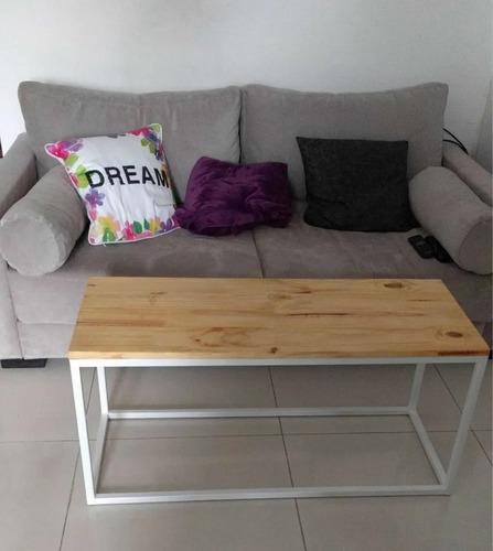 mesa ratona industrial madera hierro (100x60)