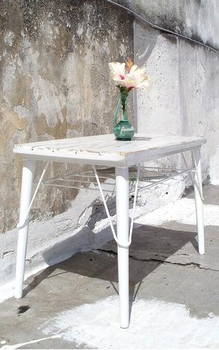 mesa ratona living  auxiliar madera de demolicion industrial