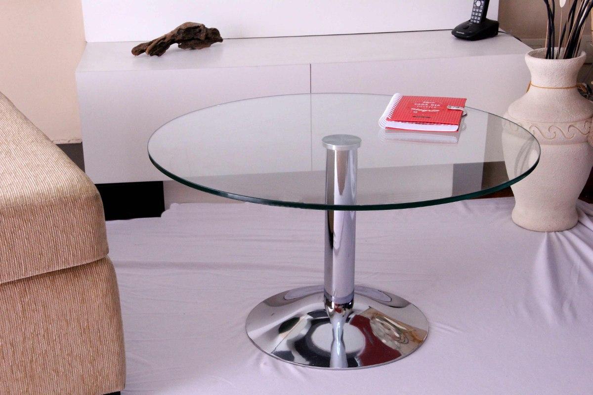 Mesa Ratona Living Diseño Redonda Vidrio Comedor 90 Cm