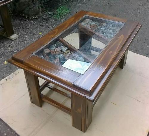 Mesa ratona artesanal madera y vidrio muy moderna - Mesas de vidrio modernas ...