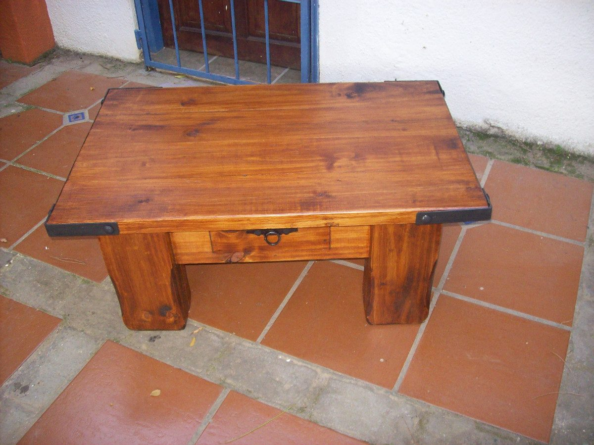 Mesa ratona madera maciza rustica artesanal c hierro 4 for Mesas para bar rusticas
