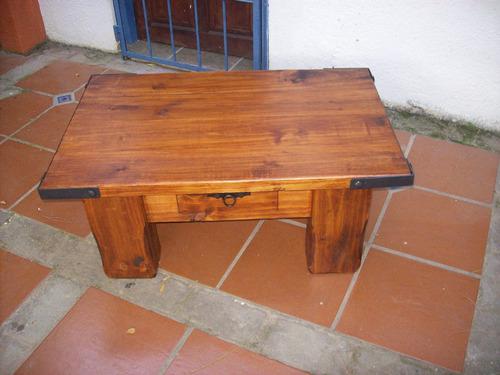 Mesa ratona madera maciza rustica artesanal c hierro en mercado libre - Mesa rustica madera ...