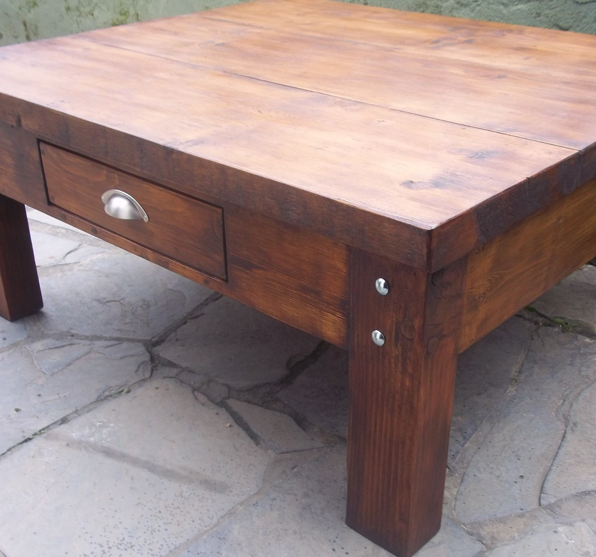 Mesa ratona madera r stica en mercado libre for Mesa madera maciza rustica
