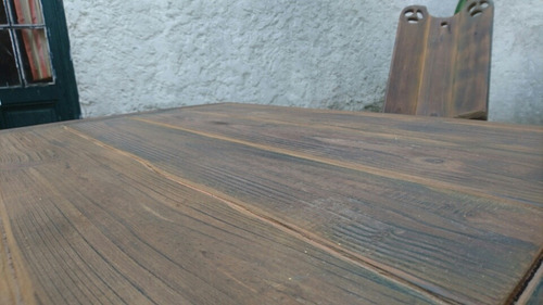 mesa ratona madera rústica masciza juego c/sillas artesanal
