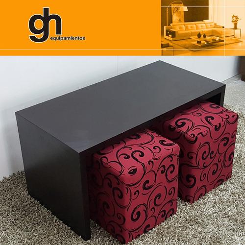 mesa ratona minimalista con 2 puff, solo en gh.equipamientos