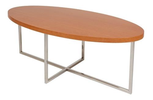 mesa ratona ovalada madera lustrada cromada forbidan muebles