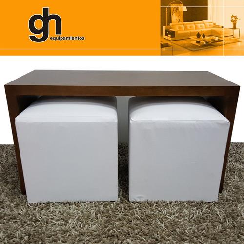 mesa ratona p/colocar 2 puf, minimalista,color a elección gh