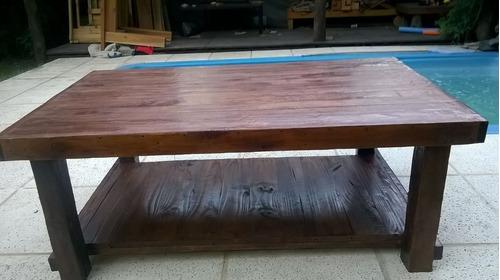 mesa ratona rustica con revistero
