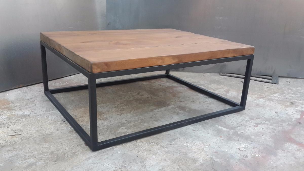 Mesa ratona rustica en hierro y madera vintage industrial en mercado libre - Mesa madera industrial ...