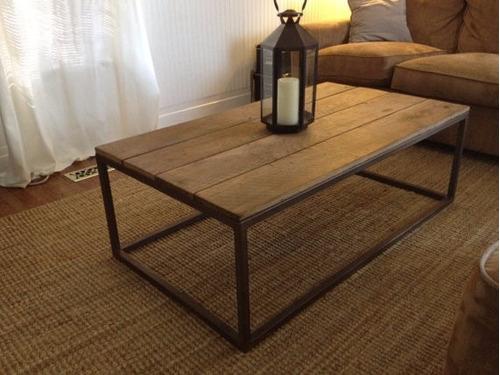 Mesa ratona rustica en hierro y madera vintage industrial - Mesa madera rustica ...