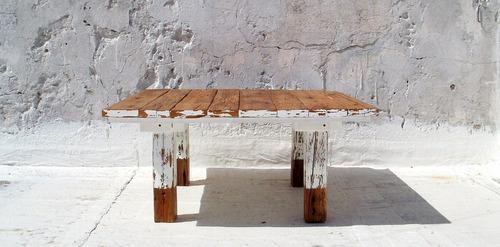 mesa ratona rustica madera de demolición barnizada