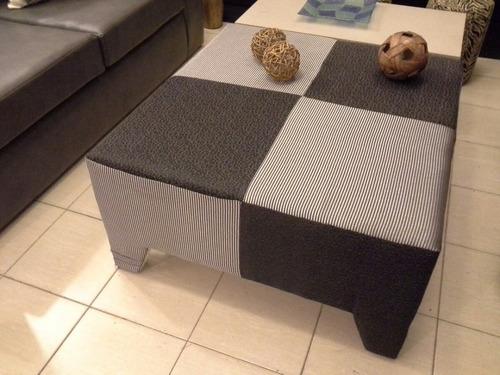 mesa ratona tapizada 80 x 80 tapizado a eleccion