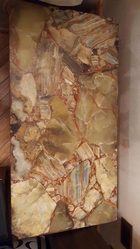 mesa ratona vintage marmol onix verde patas madera y bronce