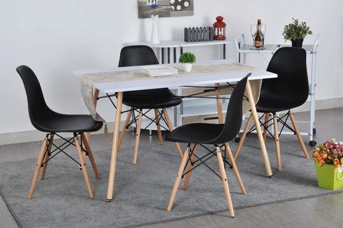 mesa rectangular blanca con 4 si-hmx0289-white/hmx0001-black
