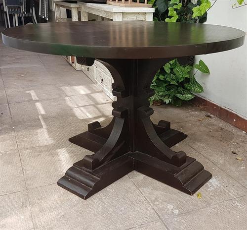 mesa redonda 130cm madera maciza wengue marron pata cruz