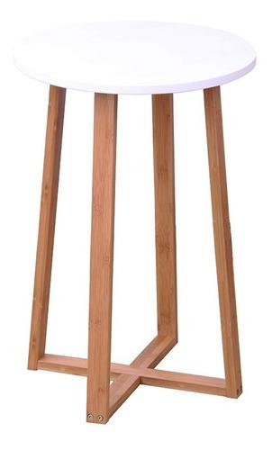 mesa redonda 40x40x60 cm bamboo con blanco